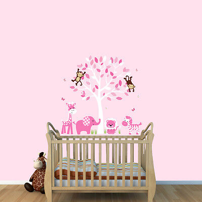 Jungle Animal Tree Decal, Baby Girl Nursery Safari Animal Wall Sticker, Animals