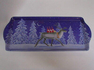 Scandinavian Gnomes Elves Tomtar on Reindeer Serving Tray for Almond Cake #2386E