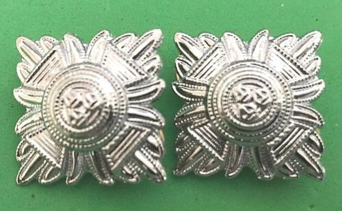 superintendent PAIR OF CHROMED METAL POLICE PIPS PRISON SERVICE BATH STARS
