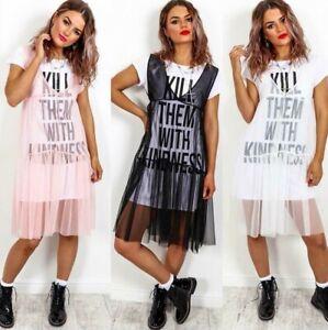 Ladies-039-Kill-Them-With-Kindness-039-Slogan-Mesh-Tulle-Sheer-Overlay-T-shirt-Dress