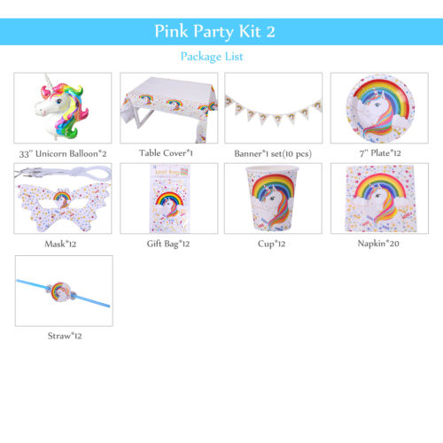 Unicorn Kids Birthday Party Supplies Banner Balloon Tableware Sets Decoration