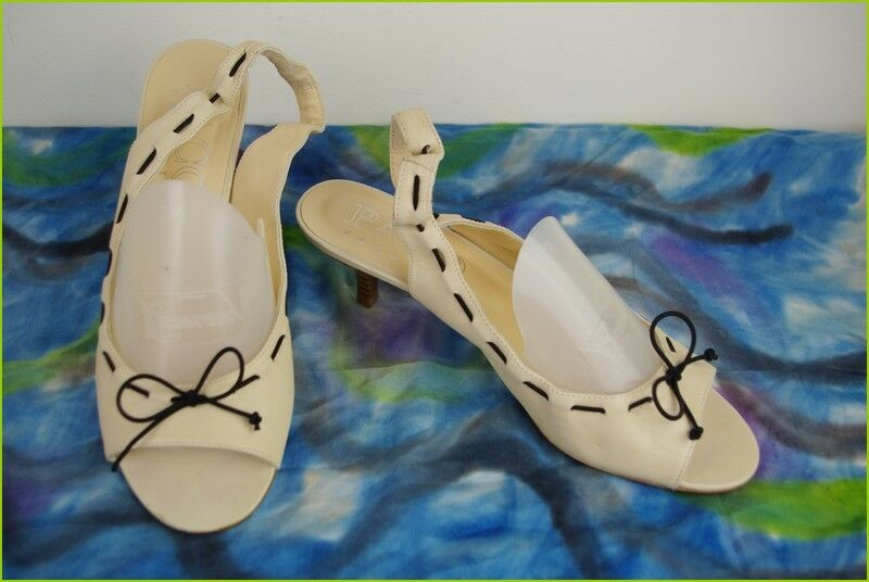 Court shoes Sandals PACO GIL All Leather Beige and black T 40 TOP CONDITION