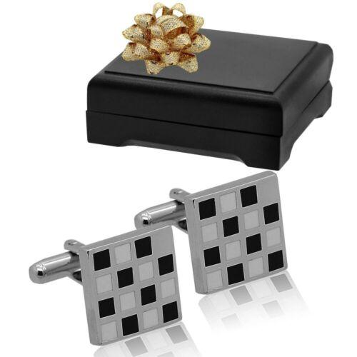 Gemelos corbatas-aguja boda señores regalo-box estuche de acero inoxidable