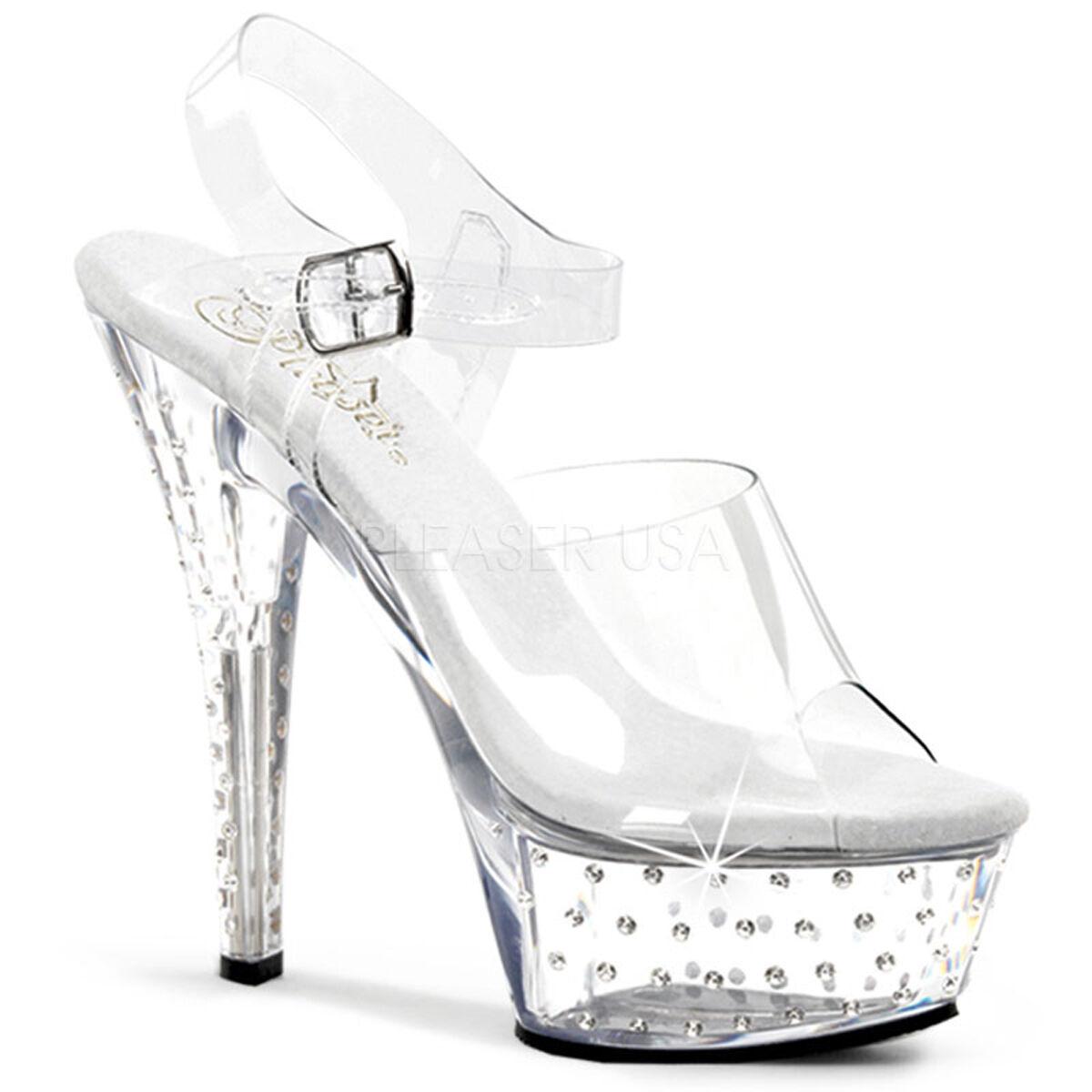 SALE PLEASER Sexy Clear Rhinestone Platform 6  Stripper Heels shoes STDUS608 C M