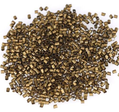 500//1000pcs Silver//Gold//Black//Bronze Tube Crimp Metal  End Beads 1.5mm 2mm