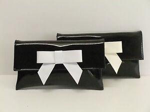 New Ladies Patent Leather Bow Envelope Design Shiny Shoulder Chain Clutch Bag