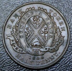 1844-CANADA-HALF-PENNY-BANK-TOKEN-COPPER-Bank-of-Montreal-Br527-PC-1B3