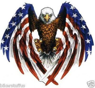 EAGLE  WITH AMERICAN FLAG STICKER HELMET STICKER BUMPER STICKER SMALL LAPTOP