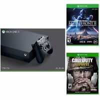 Microsoft Xbox One X 1TB Console (Black) + Call of Duty: WWII + Star Wars Battlefront II