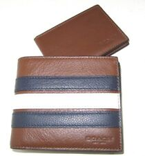8ebf59d6816d Coach Men s F24649 3 In 1 Varsity Stripe Leather Wallet Saddle Navy Chalk   175