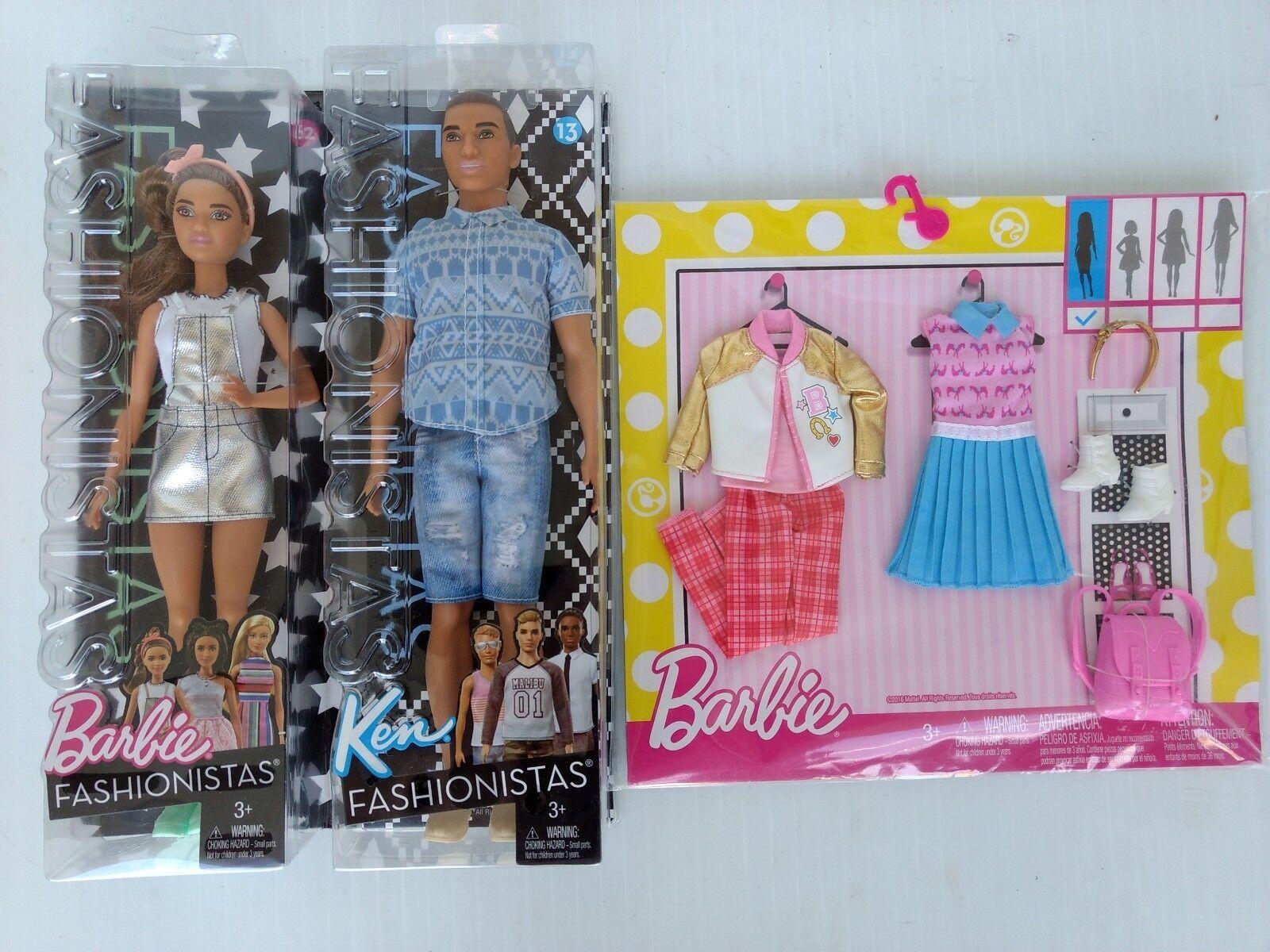 Barbie und Ken Puppe Fashionistas mit Barbie Modischer Outfit Paket