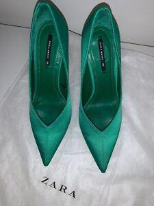2424d0665f2 ZARA V Vamp Emerald Green Satin Court High Heel Pump Size 36EU   6US ...