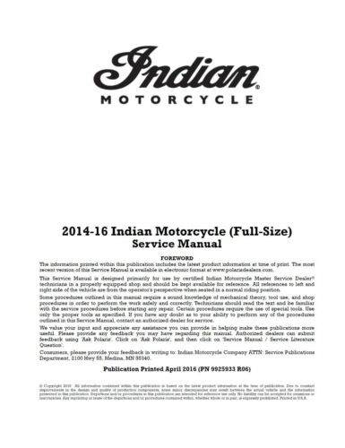 Indian Springfield Roadmaster Dark Horse 2014 2015 2016 service manual on CD