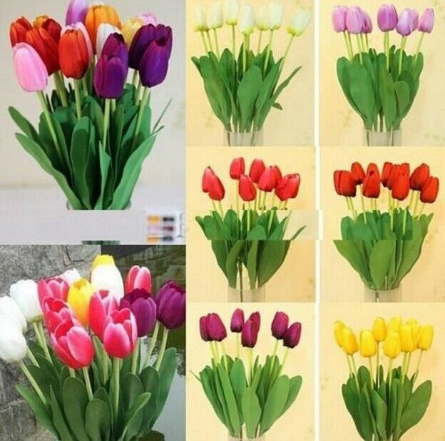 FD1011 Artificial Tulip Silk Flowers Leaf Home Wedding Bridal Decor Party ~1pc:)