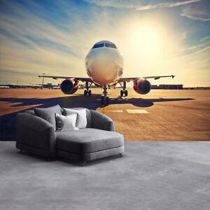Airplane Sunrise Wall Mural Aeroplane Photo Wallpaper Bedroom Home