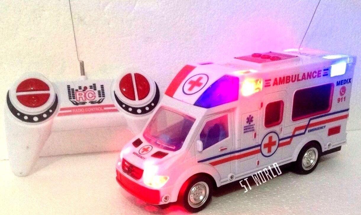 NUOVO Ambulance RC Radio Telecomando LED Musica e Luci Dinamiche Ambulanza velocità