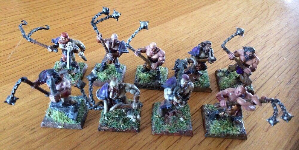 Warhammer 40k AOS Chaos Marauders Miniatures Lot Of 9 Painted & Based RARE
