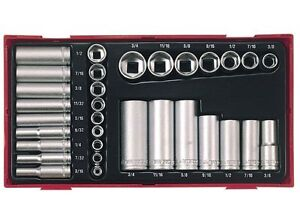 Teng-Tools-1-4-amp-3-8-Drive-Socket-Set-Imperial-Case-3-16-034-gt-3-4-034-6-Point-AF