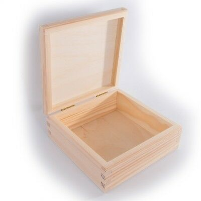 Small Square Wooden Box With Lid / 15x15x6cm / To Decorate Craft DIY  Decoupage   eBay