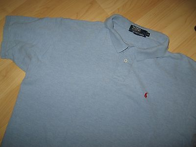 Ralph Lauren Polo Shirt - Vintage 1980's Made In USA Light Blue Pique Pony XLrg