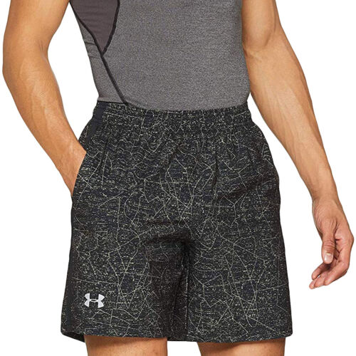 """Black Under Armour Mens Launch SW Printed 7/"""" Sports Gym Fitness Shorts Bottoms"""