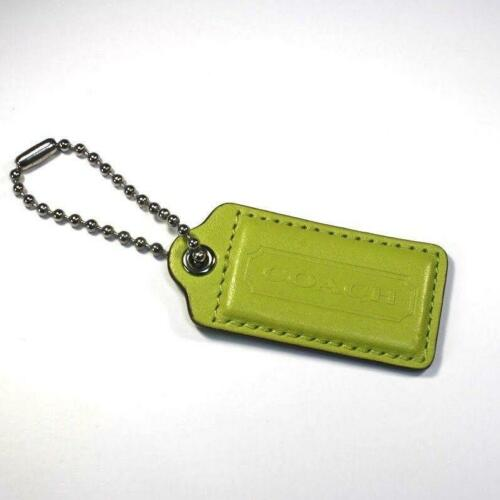 2.5″ Large COACH LIME GREEN LEATHER SILVER KEY FOB