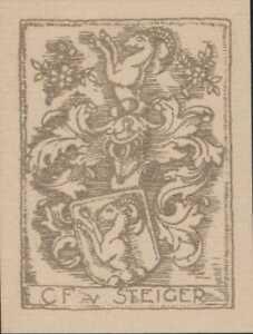 C-F-von-Steiger-bookplate-Swiss-family-Alpine-Ibex-foliage-QT1597