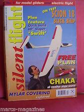 SILENT FLIGHT GLIDERS MODEL AIRCRAFT DEC JAN 1997 CHAKA III  PLAN INSIDE SWIFT