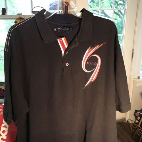 Coogi Mens Polo Shirt XXXL Black Striped Accents