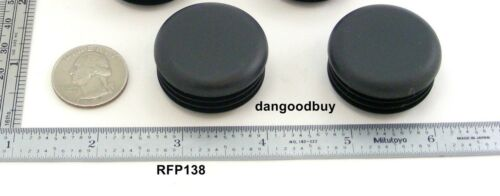 """2 Round Plastic Finishing Plugs For 1 3//8 /"""" Outside Diam Tube Ribbed Caps Ends"""