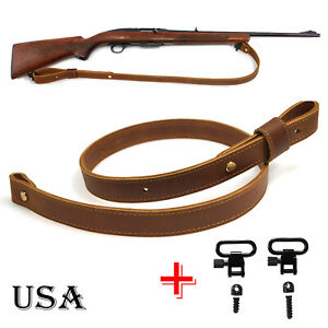"""Leather Rifle Buttstock Bullet Shell Holder with 1/"""" Wide Cowhide Rifld Sling USA"""