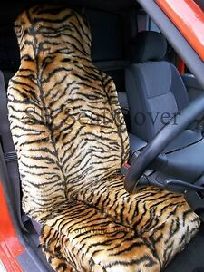 Full Set Ford Galaxy Red Tiger Faux Fur Furry Car Seat Covers