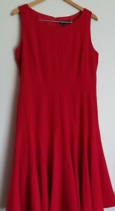 ELLEN-TRACY-Womens-Crew-Neck-Fit-And-Flare-Red-Sleeveless-Dress-Size-14