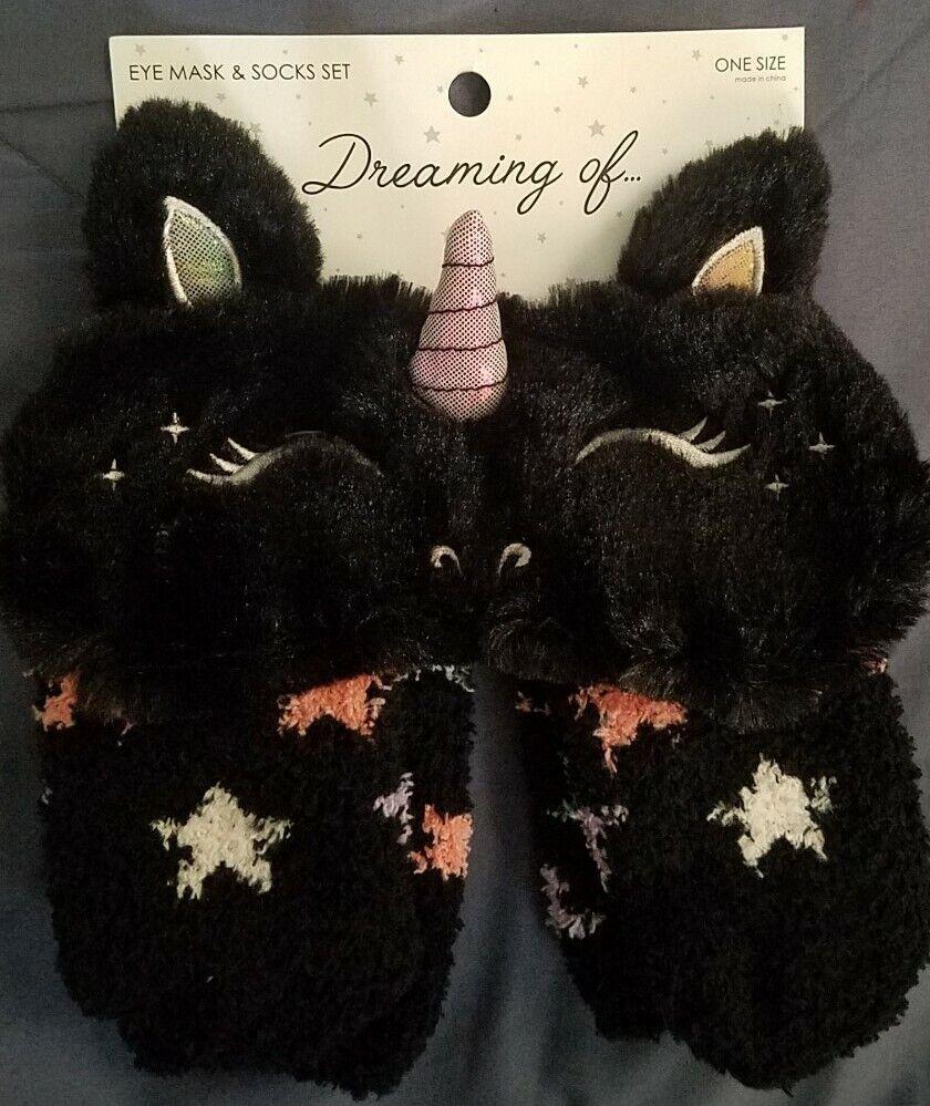 Dream Of Unicorm Eye Mask & Sock Set Womens One Size Black Stars Sleep Night