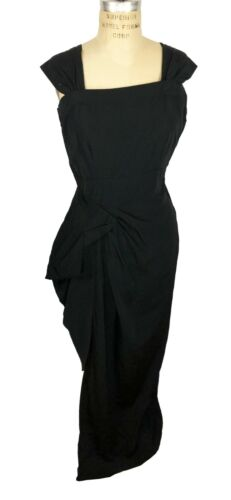 Ceil Chapman Black Rayon Gown with Front Drapinga