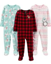 3er-Pack Simple Joys by Carters Baby-M/ädchen 3-Pack Loose Fit Flame Resistant Fleece Footed Pajamas