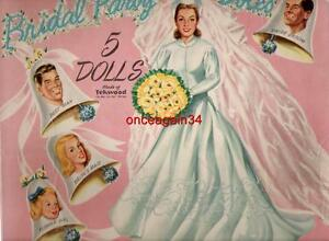 VINTAGE UNCUT 1950's BRIDAL PARTY PAPER DOLL~#1 REPRODUCTION~HARD-TO-FIND SET!