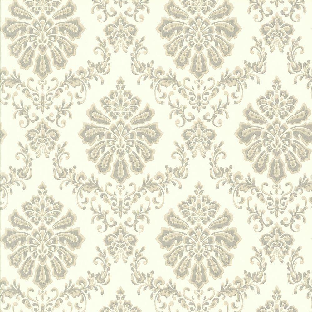 1602-104-04 - Avington Mid-Scale Damask Grey Cream Taupe 1838 Wallpaper