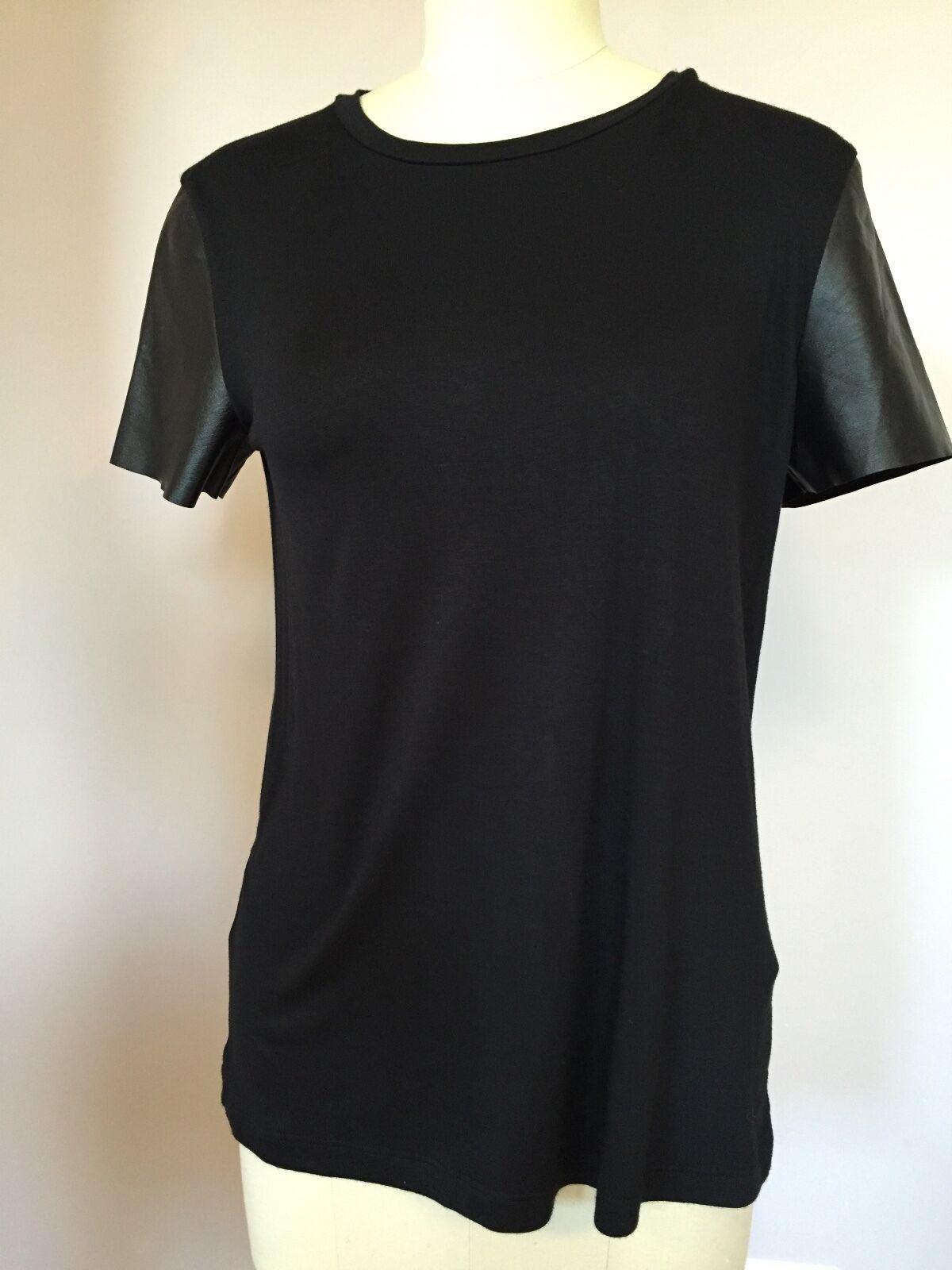 Suzi Roher sz Medium schwarz tshirt with smooth leather short sleeves EUC