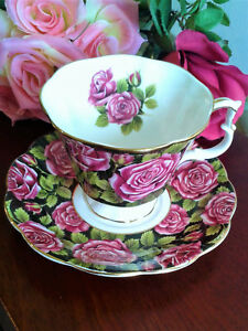 Royal-Albert-Tea-Cup-Saucer-June-Black-w-Red-Rose-Chintz-Bone-China-70s-England