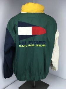 Details about Vtg 90s Tommy Hilfiger Sailing gear Nautical Colorblock Big Flag Embroidered XXL