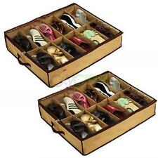 NEW Home 12 Pairs Shoe Organizer Storage Holder Under Bed Closet