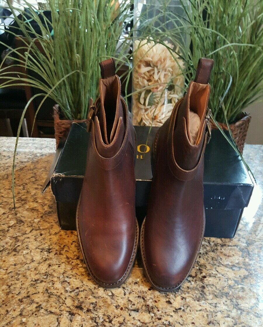 395 Polo Ralph Lauren Aldan Brown Waxy Calf Leather Boots Classic shoes 9D