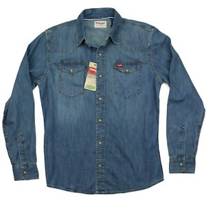 New-Wrangler-Long-Sleeve-Denim-Shirt-Indigo-Color-Trim-Fit-Men-039-s-Sizes-S-M-L-XL