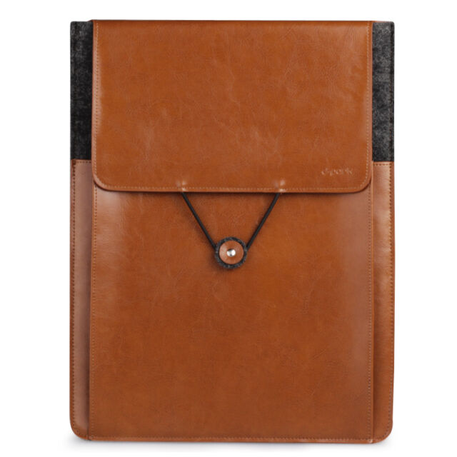 """dpark Envelope Sleeve Wool&Genuine Leather Bag For Macbook Air 11"""" US Shipping"""