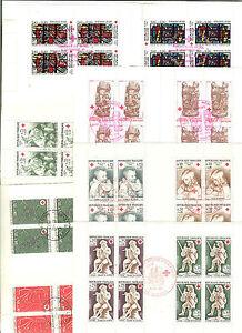 TIMBRE-FRANCE-6-CARNETS-CROIX-ROUGE-OBLITERES-1965-A-67-72-80-81-COTE-54