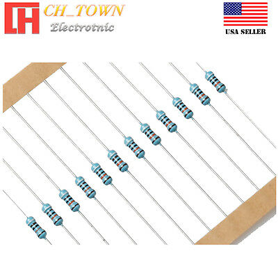 100PCS 1//4W 0.25Watt Metal Film Resistor ±1/% 1Ω to 9.1MΩ Ohm Resistance USA