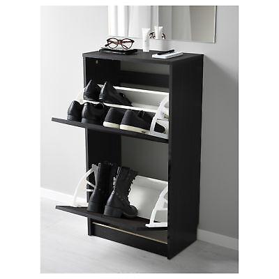 IKEA BISSA Scarpiera a 2 scomparti, nero, marrone   eBay