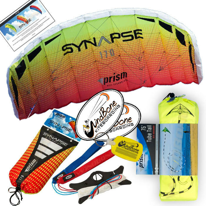 Prism Synapse 170 Mango Foil Power Stunt Kite 2 -Linje Straps 75 Foot Tube Tail