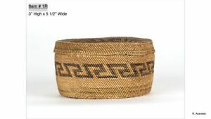 "Makah basket with lid; ca. 1890; 3"" x 5 1/2"""